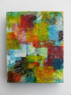 Original Contemporary Abstract Textured Modern Mixed Media Painting, or as I call it, tissue paper art