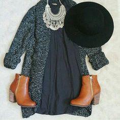 knit + little grey dress + hat + booties