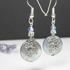 Round shell earrings surgical steel earrings blue luster
