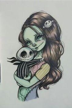 Why...why is this so cute..? Tim Burton Style, Tim Burton Art, Disney Drawings, Cool Drawings, Jack Y Sally, Nightmare Before Christmas Drawings, Desenhos Halloween, Jack The Pumpkin King, Totenkopf Tattoo