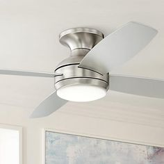 Get the benefit of a refreshing breeze and additional ambient lighting with this LED hugger ceiling fan.