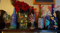Hand Painted bottles by Celise Paine follow or msg me on facebook for special orders or available paintings and prints for sale great for #wedding #birthday #anniversary #holidays #Christmas https://www.facebook.com/CelisesPaintings