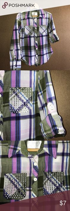 Plaid button-up, studded pockets, sleeve options. Purple, pink and army green plaid button-up with studded chest pockets and adjustable sleeves. Size 6. Justice Shirts & Tops Button Down Shirts
