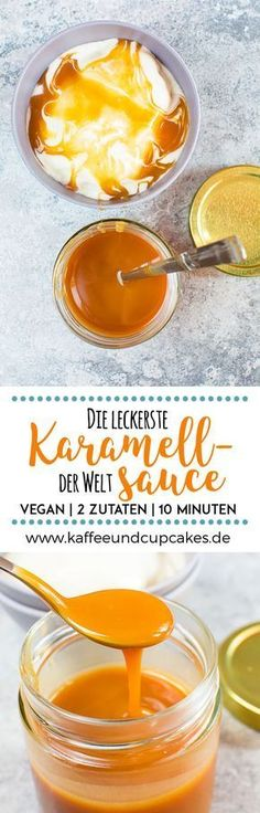 Die leckerste Karamellsauce der Welt: 2 Zutaten, 10 Minuten, veganThe most delicious caramel sauce in the world: 2 ingredients, 10 minutes, vegan Easy Sweets, Vegan Sweets, Desserts Végétaliens, Dessert Recipes, Cupcake Recipes, Sauce Caramel, Vegan Caramel, Sweet Recipes, Vegan Recipes