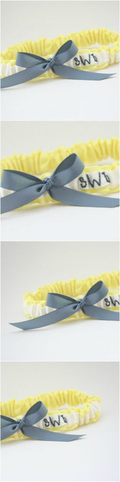 Custom White Yellow And Gray Embroidered Wedding Garter By The Girl