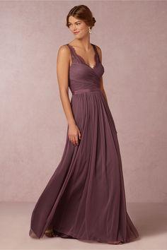 long dark purple bridesmaids dress | Fleur Dress from BHLDN