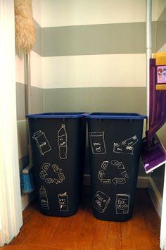 Little Green Notebook: chalkboard recycling bins