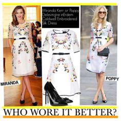 Who Wore It Better?Miranda Kerr or Poppy Delevingne inErdem Caldwell Embroidered Silk Dress
