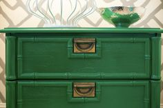 emerald green bedside table // Lucy & Company's Design #emerald
