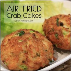 """If you are looking for a healthy recipe for crab cakes, this is the one. This crab cakes taste so good that you will not be able to tell that they were pan """"fried"""" in the air fryer. When eating crab cakes I love big chunks of crab Air Fryer Oven Recipes, Air Fryer Dinner Recipes, Air Fyer Recipes, Recipies, Air Fryer Recipes Mexican, Recipes For Airfryer, Air Fryer Recipes Shrimp, Air Fryer Recipes Dessert, Actifry Recipes"""