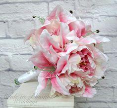 Pink stargazer lily wedding bouquet Pink peony bouquet Silk