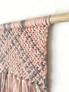 Macrame Wall Hanging on an Oak Stick - Pink and Grey Color - Cotton Jersey by KNOTinterior on Etsy