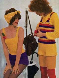 1974 by Classic Style of Fashion (Third) -crochet / knit hot pants. The one on the left looks like Joan Collins. 60s And 70s Fashion, Look Fashion, Retro Fashion, Vintage Fashion, 1974 Fashion, Yellow Fashion, Joan Collins, Vintage Party, Retro Vintage