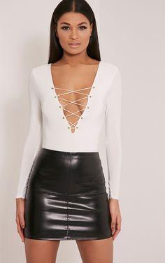 Kitanna White Lace Up Bodysuit Image 1