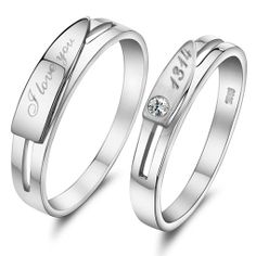 Sterling Silver Engagement Matching Engravable Couple Ring