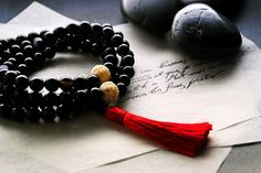 Carved Bone and Black Agate Mala Beads Chinese by BuzzMeditations, $80.00