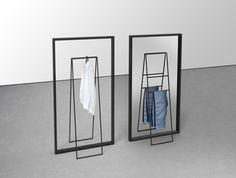 SPIEGELBILD A rack with an optical illusion #rack #interior #transparent #mirror #metal #designwithastory #illusion #hanger