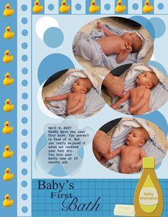 baby scrapbook layouts   Baby's First Bath - Digital Scrapbook Place Gallery