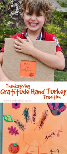 I love this Thanksgiving tradition of gratitude hand turkeys! Something the whole family can do year after year together!
