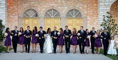 dark purple wedding party, bridesmaids & groomsmen.Wedding at St Elizabeth Ann Seton, by Ivey Photography.