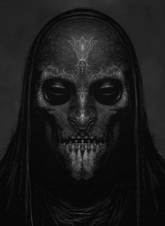 """""""yearoftheknife: xombiedirge: Harry Potter Concept Art: Death Eaters by Rob Bliss"""" I think it looks like a Necromancer's mask. Character Concept, Character Art, Concept Art, Character Design, Dark Fantasy Art, Dark Art, Death Eater Mask, Art Zombie, Illustration Fantasy"""