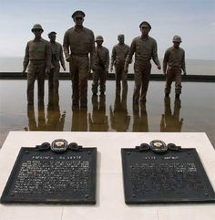 """Red Beach, Palo, Leyte: Memorial of former Philippine president Osmena and then Pacific Theatre world war II U.S. commander, Gen. MacArthur, and their staff — wading in the shores of Palo, Leyte in the closing months of the second world war. This landing preceded one of MacArthur's famous lines: """"People of the Philippines, I have returned. By the grace of Almighty God, our forces stand again on Philippine soil consecrated in the blood of our two people…"""""""