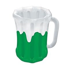 Pack Of 6 Inflatable Green And White Beer Mug St Patricks Day Cooler 27