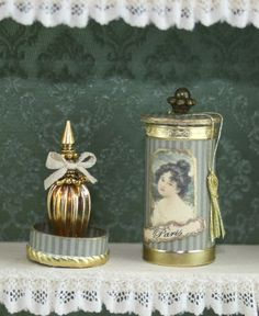 French Ladys perfume in a round historic box OOAK ....Dollhouse