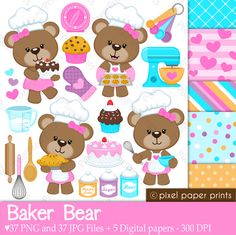 Baker Bear Clipart and Digital Papers - Lots of baking elements to create the perfect invitation, craft or creative project.