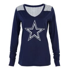 Dallas Cowboys Women's Rockwell Long Sleeve V-Neck T-Shirt - Navy