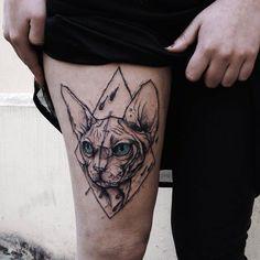 Sphynx Cat tattoo by Kamil Mokot - sketch style tattoos