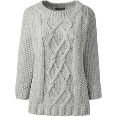 Lands' End Women's Petite Wool Blend 3/4 Sleeve Sweater - Aran ($60) ❤ liked on Polyvore featuring tops, sweaters, grey, aran sweaters, grey cable knit sweater, cable knit sweater, cable-knit sweater and gray long sleeve shirt