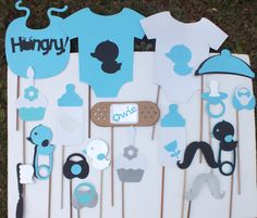 Photo booth props  black and teal unisex set by flutterbugfrenzy, $33.75