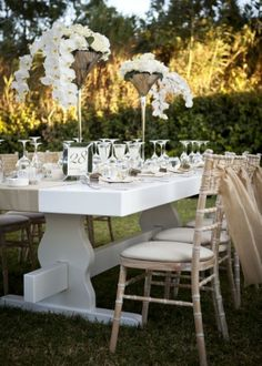 De Plan V » White & Gold Opulence Wedding @ Island, Athenian Riviera orchid flower, tall flower composition, center piece, long table, garden, minimal, elegance