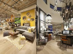 A loft area at the center of the store is used for special retail displays. The interior of the rotunda houses the Design Lab, an interactive space where customers get to engage with West Elm products and choose finishes and fabrics to customize their furniture.