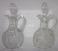 "EAPG 1898 Fostoria Glass Co. ""Edgewood"" Cruets pattern # 675 w/Original Stopper"