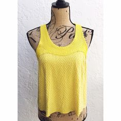 "Madison Marcus Yellow Embellished Beaded Silk Top Madison Marcus 'Spark' Scoop-Neck SilkTop. Gorgeous Yellow Color Sleeveless Blouse Embellished with Yellow and Clear Bugle Beads that form an Intricate Webbed Design on this Flowing, Cropped Style. Racerback Silhouette with Middle Back Covered Button & Loop Closures. Delicate bugle beads form an intricate webbed design on this flowing, cropped silk style. Size Small, 22"" Length from Shoulder to Hem. 100% Silk, with Crepe Lining. Brand New…"