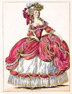 Jan 2012 - Galerie Des Modes Et Costumes Francais Rococo Fashion, French Fashion, Victorian Fashion, Vintage Fashion, Fashion Goth, Ladies Fashion, 18th Century Dress, 18th Century Costume, 18th Century Fashion