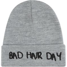 LOCAL HEROES Bad hair beanie (£20) ❤ liked on Polyvore featuring accessories, hats, grey, gray beanie, embroidered hats, gray hat, gray beanie hat and beanie hats