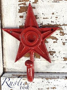 Red Home Decor  Star Wall Hook Vintage Inspired  Bright by AlacartCreations