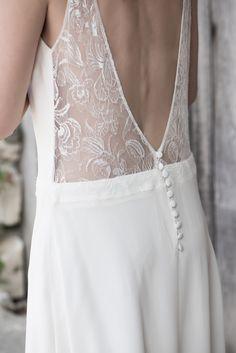 Robe de mariée Au fil d'Elise modèle Dora en soie et dentelle de Calais
