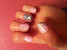 Summer nails!!  Cake Pop pink and silver shellac