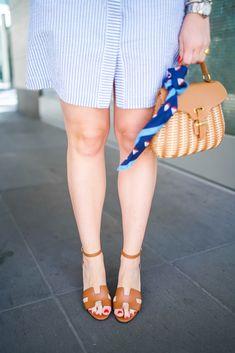 Seersucker Shirtdress, Wicker Mini Bag, Hermes Wedges
