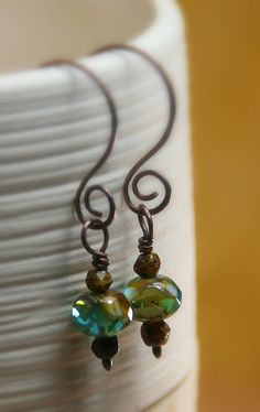 Caramel Skies Czech Glass Beaded Copper by AllowingArtDesigns, $15.00