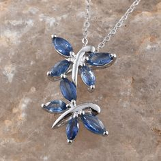 Kanchanaburi Blue Sapphire Platinum Over Sterling Silver Butterfly Pendant with Chain