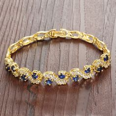 Iblue Jewelry Yellow Gold Plated Cubic Zirconia Stone Tennis Bracelet Swarovski Elements Diamond Cut *** Want to know more, click on the image. (This is an affiliate link) #JewelryDesign