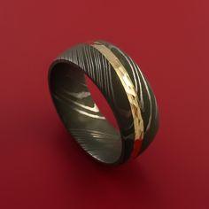 Damascus Steel Diagonal 14K Yellow Gold Ring Wedding Band Custom Made - Stonebrook Jewelry  - 1
