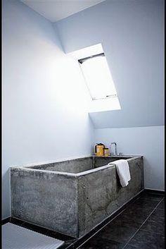 Bathroom, concrete bathtub.