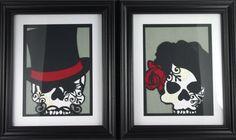 Cut Paper Sugar Skull Day of the Dead Dia de los Muertos Layered Artwork - Set of 2 - Unframed Skull Decor, Skull Art, Skull Bedroom, Gothic Bedroom, Master Bedroom, Paper Cutting, Cut Paper, Day Of The Dead Art, Paper Artwork