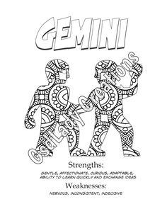 zodiac signs art print astrology print coloring page gemini horoscope